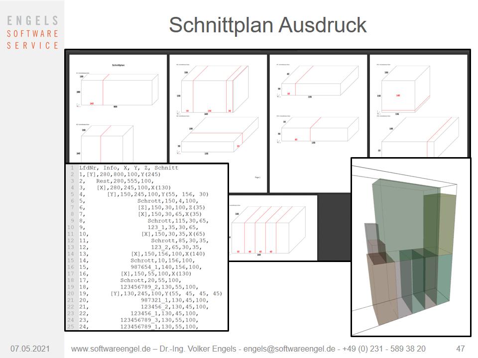 optimierter 3D- Schnittplan Ausdruck und Visualiserung mit Rest und Schrott